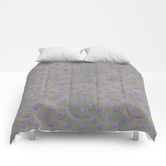 Purple Glitter Dots on Grunge Gray Comforters
