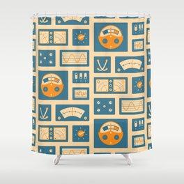 Mission Control - Peach & Blue Shower Curtain