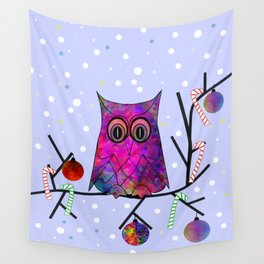 The Festive Owl Wall Tapestry