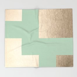 Simply Geometric White Gold Sands on Pastel Cactus Green Throw Blanket