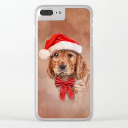 Drawing dog  English Cocker Spaniel in red hat of Santa Claus Clear iPhone Case