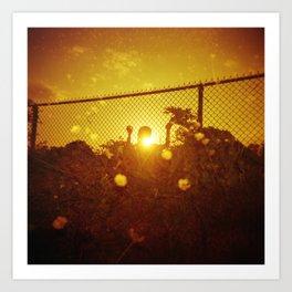Melting into the Sunset - Holga Double Exposure - Redscale Film Art Print