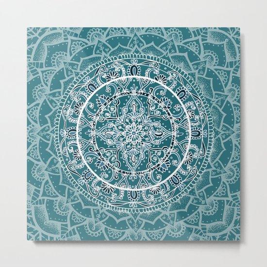Detailed Teal and Blue Mandala Pattern Metal Print