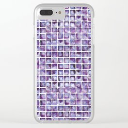 Purpe Waterclor Tile Pattern Clear iPhone Case