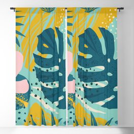 Hawaii Pastel Pink & Mint Green Tropical Floral-Prints Blackout Curtain