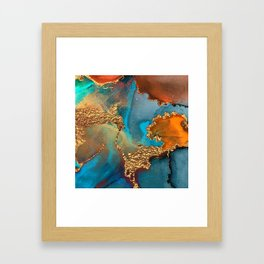 Abstract Blue And Gold Autumn Marble Framed Art Print