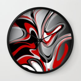 Liquify - Red, Gray, Black, White Wall Clock