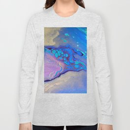 Slow Down Purple - Ultra Violet and Blue Fluid Pour Painting Abstract Long Sleeve T-shirt