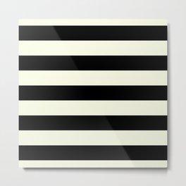 Preppy mid century modern minimalist Paris Chic Black And White Stripes Metal Print