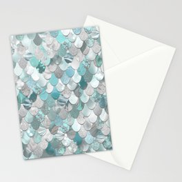 Mermaid Aqua and Grey Stationery Cards