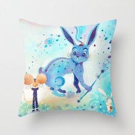 Blue rabbit Throw Pillow