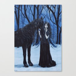 Midnight Travelers Gothic Fairy and Unicorn Canvas Print