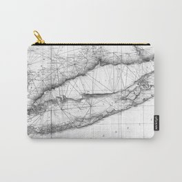 Vintage Map of Long Island NY (1877) BW Carry-All Pouch