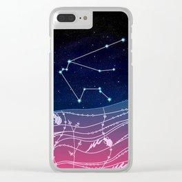 Aquarius Zodiac Constellation Design Clear iPhone Case
