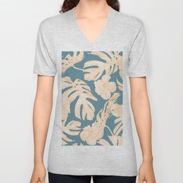 Island Vacay Hibiscus Palm Leaf Coral Teal Blue Unisex V-Neck