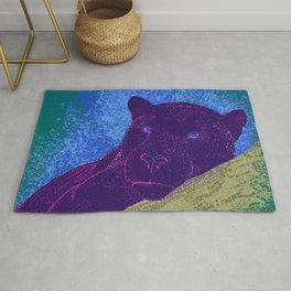 Purple panther on a branch - Teal Rug