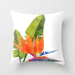 Geometric bird of paradise Throw Pillow