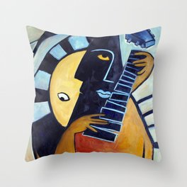 Blues Guitarist Throw Pillow