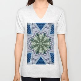 Blue And Green Abstract Unisex V-Neck