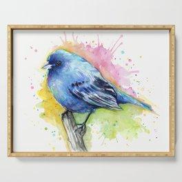 Blue Bird Indigo Bunting Colorful Animals Serving Tray