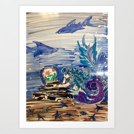 Dreaming Mermaid Art Print