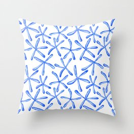 Blue starfish watercolor design Throw Pillow