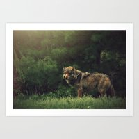 bad wolf Art Prints featuring Bad Wolf by Monster Brand