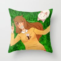 puppycat Throw Pillows featuring Bee and Puppycat by radcoffee