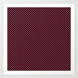 Black and Raspberry Sorbet Polka Dots Art Print