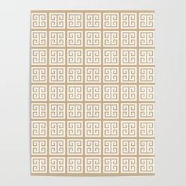 Tan Brown Greek Key Pattern Poster