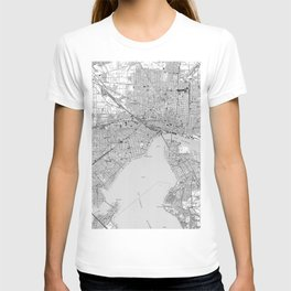Vintage Map of Jacksonville Florida (1950) BW T-shirt