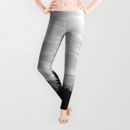 Smoky Mountain Black and White Forest Sunset - 125/365 Leggings