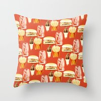 junk food Throw Pillows featuring Junk Food by popsicledonut