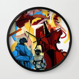 Expressive Cello People Painting Wall Clock