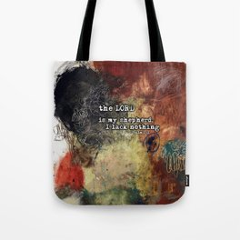 Psalm 23 Christian Inspired Abstract Art with Bible Verse Tote Bag
