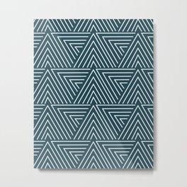 Teal blue mudcloth pattern Metal Print