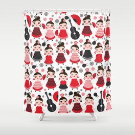 pattern spanish Woman flamenco dancer. Kawaii cute face with pink cheeks and winking eyes. Shower Curtain