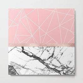 Blush Pink Geometric Triangles Rose Gold Marble Metal Print
