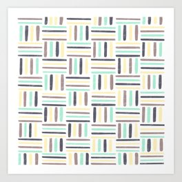 Linear Weave //Basket Weave Design, Pastel colours, green, black, brown, yellow Art Print