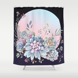 Succulent full moon Shower Curtain