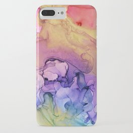 Colorful Abstract Ink Swirls with Gold Marble iPhone Case