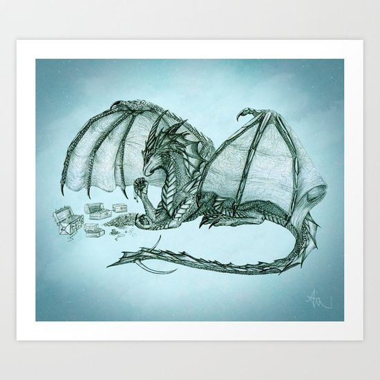 """Material Girl"" by Amber Marine ~ (Sea Mist Version) Graphite & Charcoal Dragon Art, (c) 2005 Art Print"