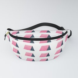Modern pink blue watercolor hand painted triangles shapes Fanny Pack