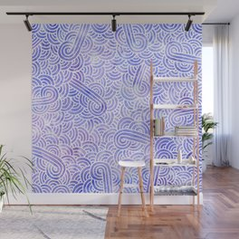 Lavender and white swirls doodles Wall Mural