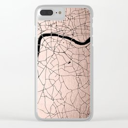 London Rosegold on Black Street Map Clear iPhone Case