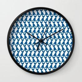 Cats blue pattern Wall Clock