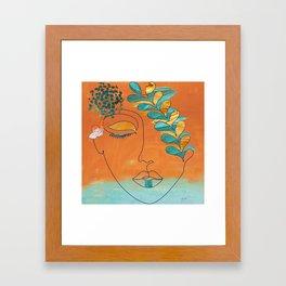 Monoline Woman Gilded Flowers Framed Art Print
