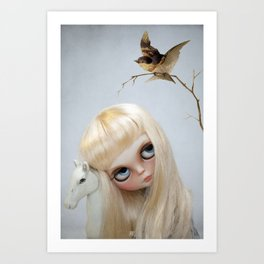 Erregiro Blythe Custom Doll, The White Horse Art Print