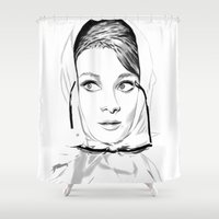 audrey hepburn Shower Curtains featuring Audrey Hepburn by caffeboy