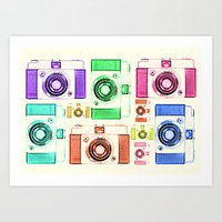 vintage camera Art Prints featuring CAMERA by Laura Maria Designs